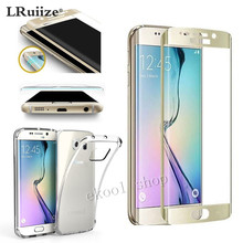 LRuiize 0.2 mm Front frame cover 3D Full Tempered Glass Screen Protector for Samsung Galaxy S6 edge + Clear Shockproof TPU Case