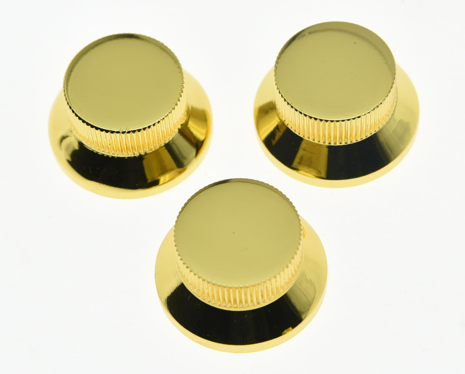 KAISH 3pcs Gold Metal ST Strat Knobs Top Hat Bell Guitar Bass Knob For 5.8mm Pots