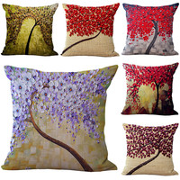 3D Flower Painting Pillow Case For Car Sofa Office Back Square Cushion Throw Pillow Cover Pillowcase
