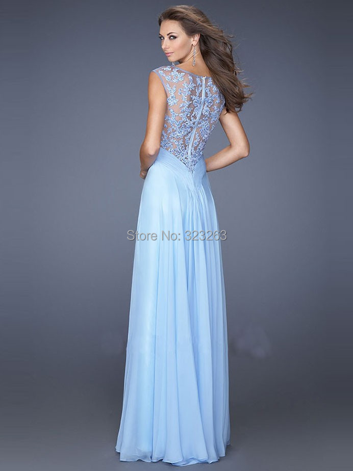 76cd6bb8eec Illusion Cap Sleeve Sexy See Through Evening Gowns Light Blue Prom Dresses  Long Chiffon with Lace Sheer Back NF232