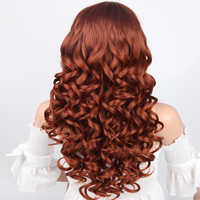 Pageup 22 Inches Long Orange Color Synthetic Wave Wigs For Women High Temperature Fiber Cosplay Wigs