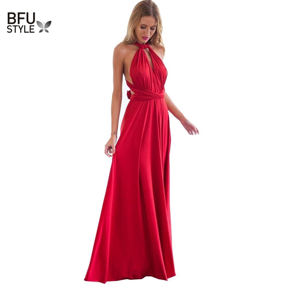 Mulheres Sexy Boho Maxi Clube Vestido Bandagem Vermelho Longo Vestido de Festa Damas de Honra Conversível Multiponto Infinito Robe Longue Femme 2018