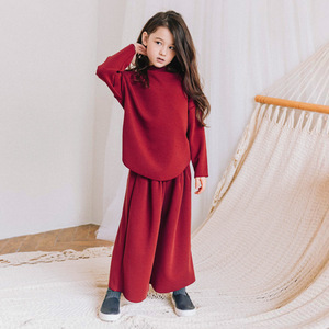 Image 3 - fleece cotton teenage girls clothing sets kids 2018 autumn winter clothes suits girl 2 pcs loose hoodies & wide leg pants suits