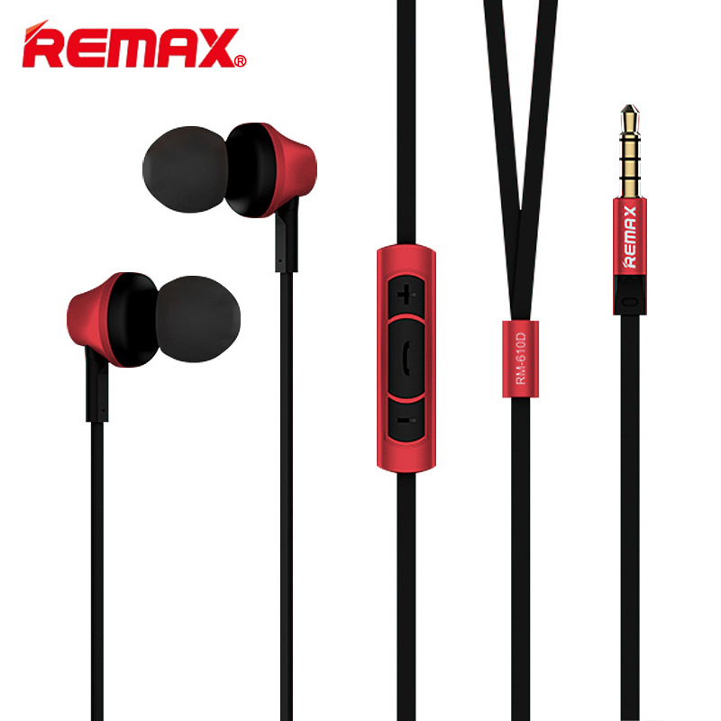 Remax RM-610D 3.5mm High Performance Earphone In-Line Control Stereo Headsets In-Ear Earphone Headset with Microphone for Phone remax rm 610d base driven high performance stereo earphone with microphone and in line control rm 610d