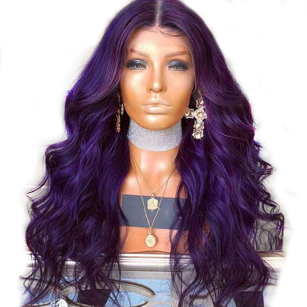 Brazilian Purple 360 Lace Frontal Closure Wigs PrePlucked Wavy Colored Lace Front Human Hair Wigs For
