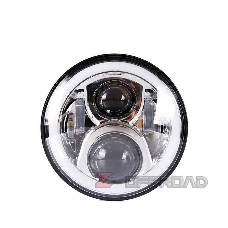 7 pouces LED H4 Chrome rond blanc Halo anneau projecteur phare pour Jeep Wrangler avec clignotant ambre lampes éclairage phare