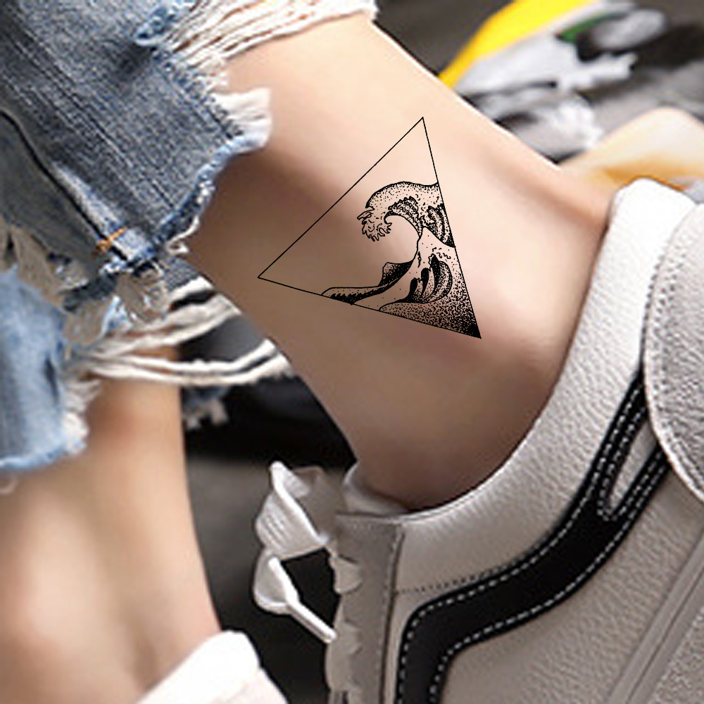 Small Triangle Ankle Surfing Black Men Temporary Tattoos Sticker Women Arm Tattoo Waterproof Fake Tatouage Body Art Tatoos