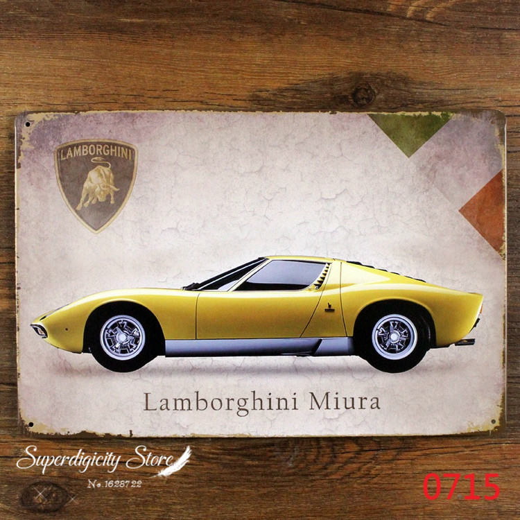 Yellow Miura Car Metal Poster Retro Tin Sign Craft Home Pub Decor C