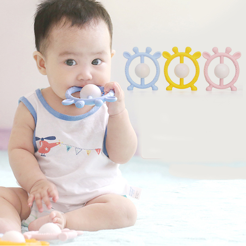 Baby Animal Shape Teether Toddler Food Grade Silicone Teething Toys With Rattle Baby Musical Hand Grasping Appease Rattle Toy