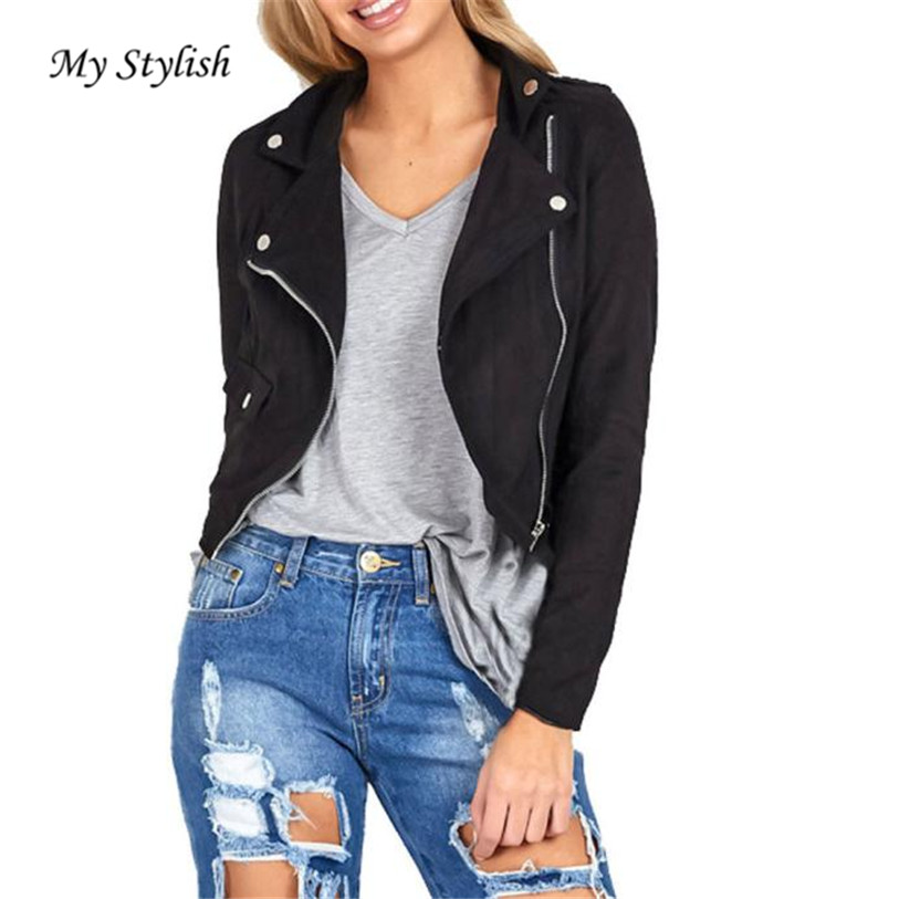 font b Womens b font Sexy Winter Slim Biker Motorcycle Leather Jacket Zipper font b