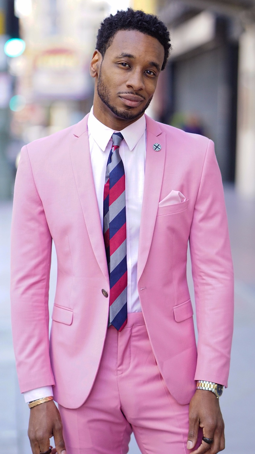 Latest Coat Pant Designs Hot Pink Men Suit Slim Fit 2