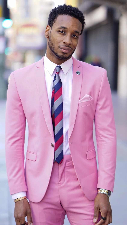 e8495b952 Latest Coat Pant Designs Hot Pink Men Suit Slim Fit 2 Piece Casual Beach  Tuxedo Custom