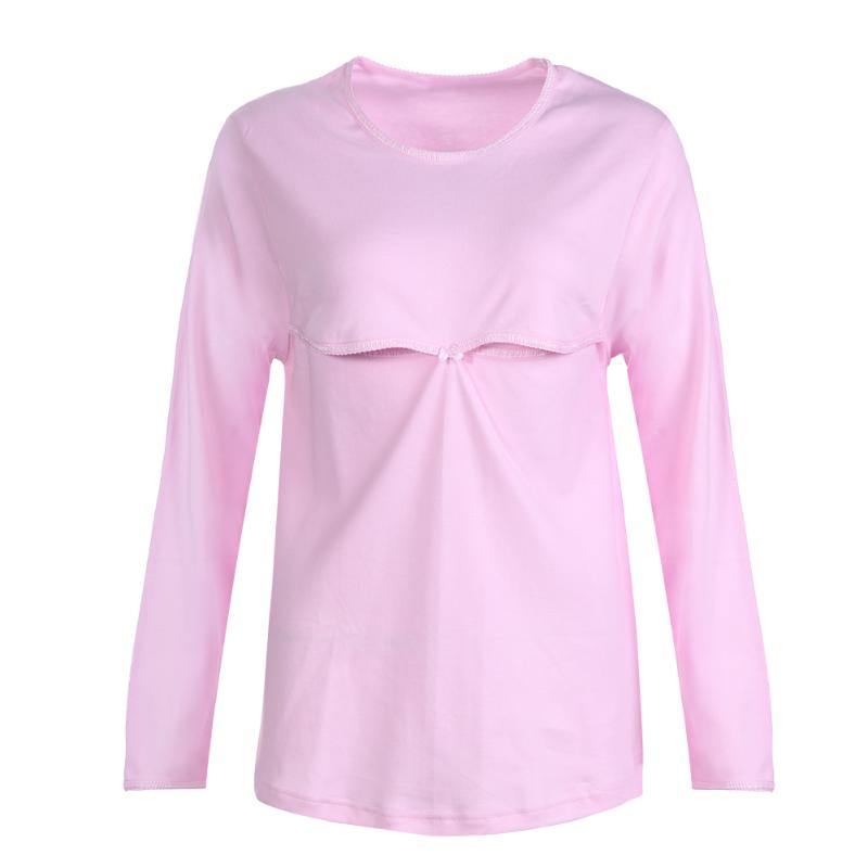Pregnant Women Long Sleeve Tops Cotton Breastfeeding Underwear Mother Nursing Clothes Skin Color Pink
