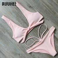 RUUHEE Solid Bikini Swimwear Women Swimsuit 2017 Bikini Set Bathing Suit Summer Female Beachwear With Pad