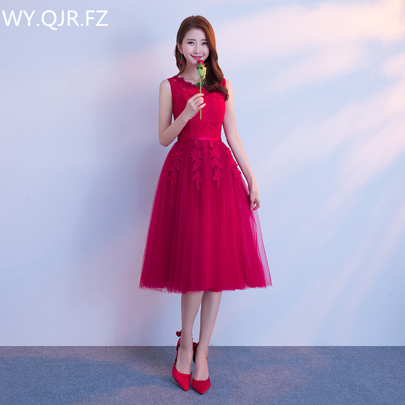 JYX79S#O-Neck Shoulders Lace Up Medium Long Style Wine Red Bride's Bridesmaid Dresses Wedding Party Prom Dress Girls Wholesale