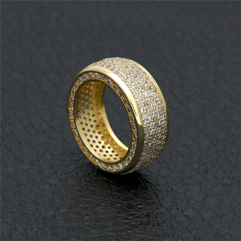 Men/'s Micropave CZ AAA Crystal Hip Hop Bling Iced Out Ring 18k Gold Silver Band