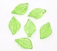 دلايات معلّقات على شكل أوراق شجر خضراء مضيئة 18 مللي متر (6/8 بوصة) × 11 مللي متر (3/8 بوصة) جديد 50 قطعة