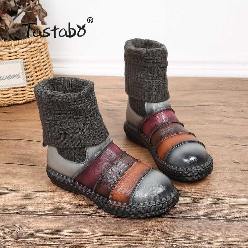 Tastabo Çizmeler Kadın Hakiki Deri Çizmeler Ayakkabı Kadın Sonbahar El Yapımı Lady yumuşak düz ayakkabı Rahat kadın ayakkabısı