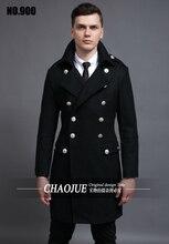S-5XL! мужская мода тонкий старинные шерстяное пальто длинная шерсть пальто тренчкот мужчины! S-5XL бесплатная доставка