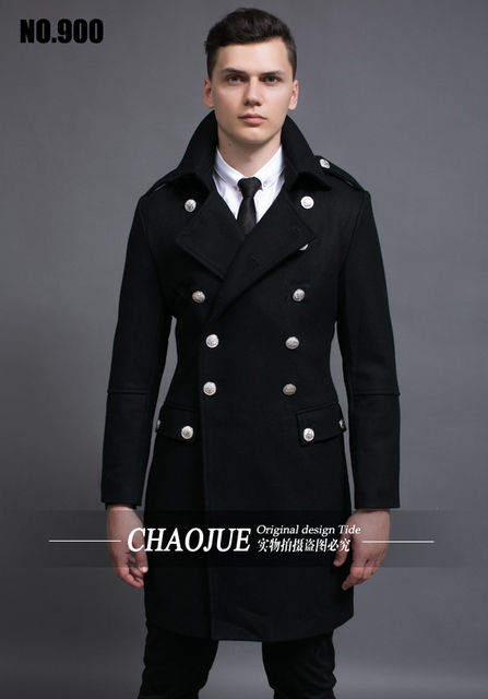 S-5XL  ! Men's fashion slim vintage woolen overcoat long design wool coat trench coat men ! S-5XL free shipping