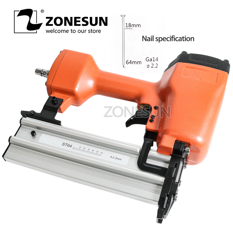 цена на ZONESUN ST64 Steel iron Nail Gun Pneumatic Micro Pinner Nailer Air Brad Pin Gun Furniture Wood Sofa woodworking Air Stapler