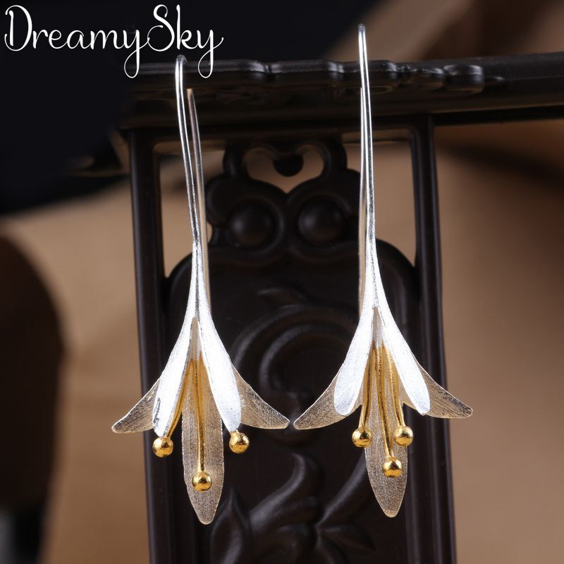 Korean Fashion Real Silver Color  Long Flower Drop Earrings Female High Quality Handmade Flower Earrings Thailand Crafts