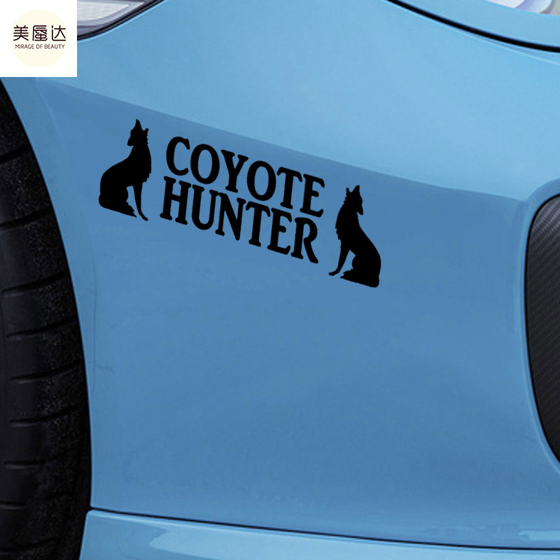 English Alphabet Animals Car Sticker Coyote Hunter Wolf Dog Car Decor Motorcycles Waterproof Reflective Vinyl Decal