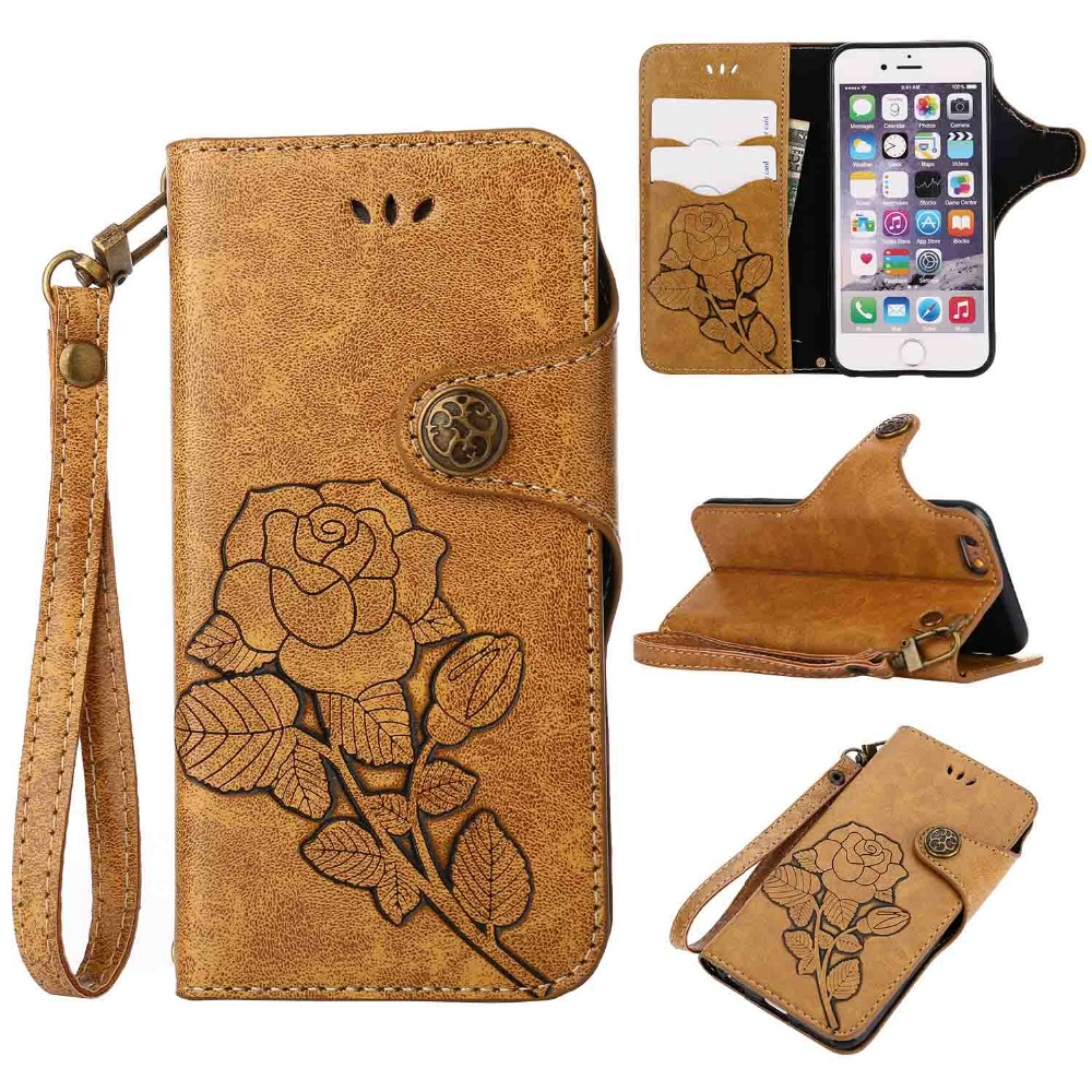 For Coque iPhone 6 Case Cover Fashion Vintage PU Leather Wallet Stand Phone Case for iPhone 6 6S 6Plus Soft TPU Skin