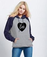 Nueva Moda Streetwear Sudaderas Hoodies de Las Mujeres Imprimir LITTLE MIX AMOR CORAZÓN 2018 Otoño Invierno Fleece Hoody Harajuku Raglán