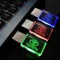 Pen drive 64GB, Creative Crystal Transparent LED for Toyota car Logo 4GB 8GB 16GB 32GB 64GB USB Flash 2.0 Memory Drive Stick