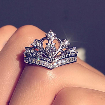 IPARAM New Rose Gold Silver Zircon Crown Wedding Engagement Ring