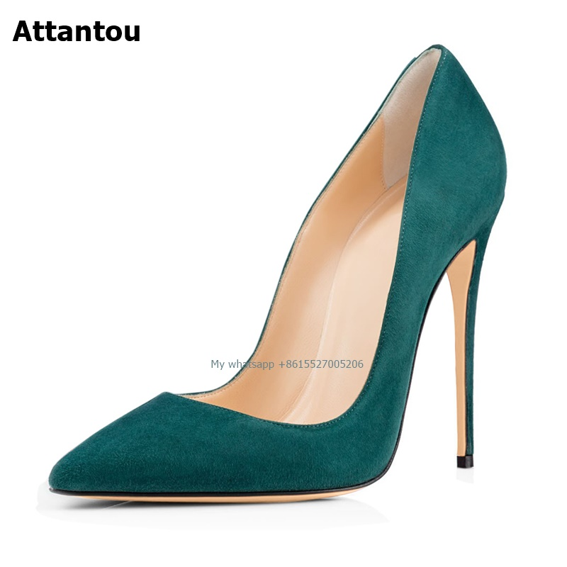 Sexy Women Pumps High Heels Shoes Spring Green Suede Thin Heels Woman Party Shoes Plus Size Pointed Toe Single Female Pumps 45Sexy Women Pumps High Heels Shoes Spring Green Suede Thin Heels Woman Party Shoes Plus Size Pointed Toe Single Female Pumps 45