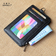 ID Window Card Holder Coin Purse Zippered Credit Card Case Genuine Leather Bifold Slim Card Wallet