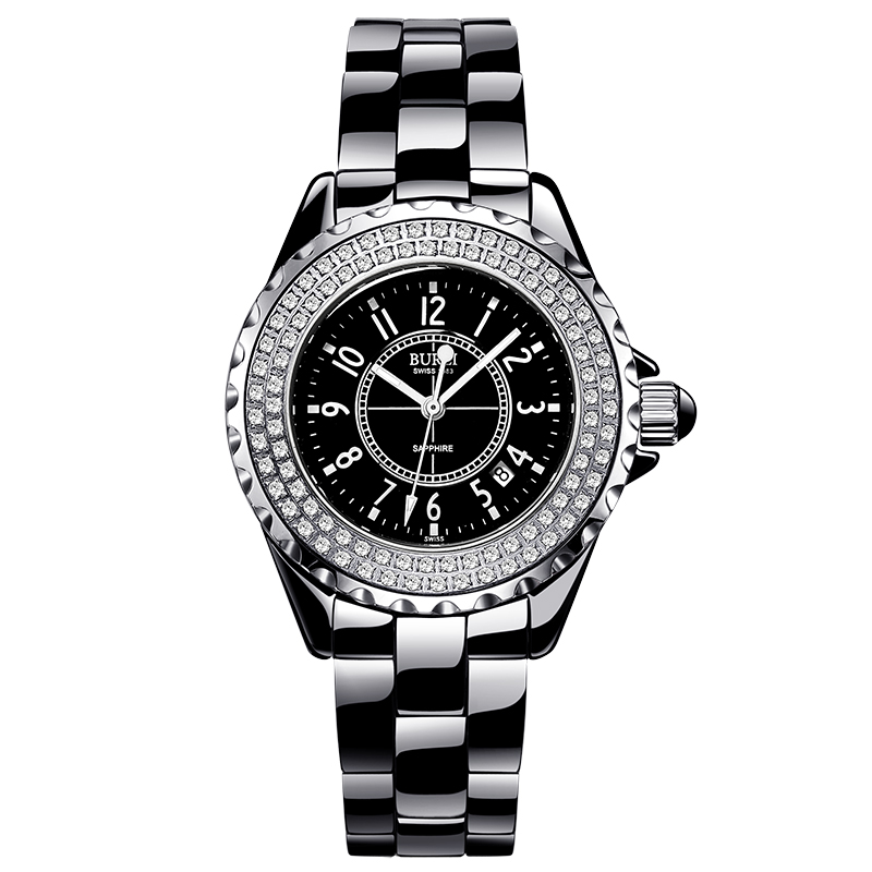 BUREI 18003 Switzerland watch women luxury brand J12 series Austria diamond Ceramic calendar number black relogio feminino цена