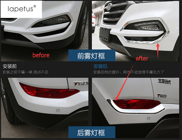 Accessories For Hyundai Tucson 2016 2018 Front Head Fog + Rear Trunk