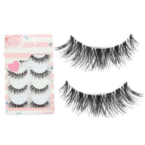 5 Pairs Lote Cruz Preta Cílios Falsos Longo Macio Maquiagem Dos Olhos Lash Extensão
