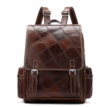 100% Guarantee Genuine Leather Bag Vintage Fashion Design Handmade Patchwork Leather Women Backpack