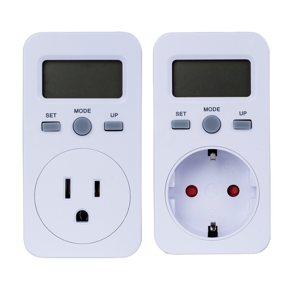 Plug-in Digital Wattmeter LCD Power Energy Monitor Meters Electric Test Meter US UK EU Plug image