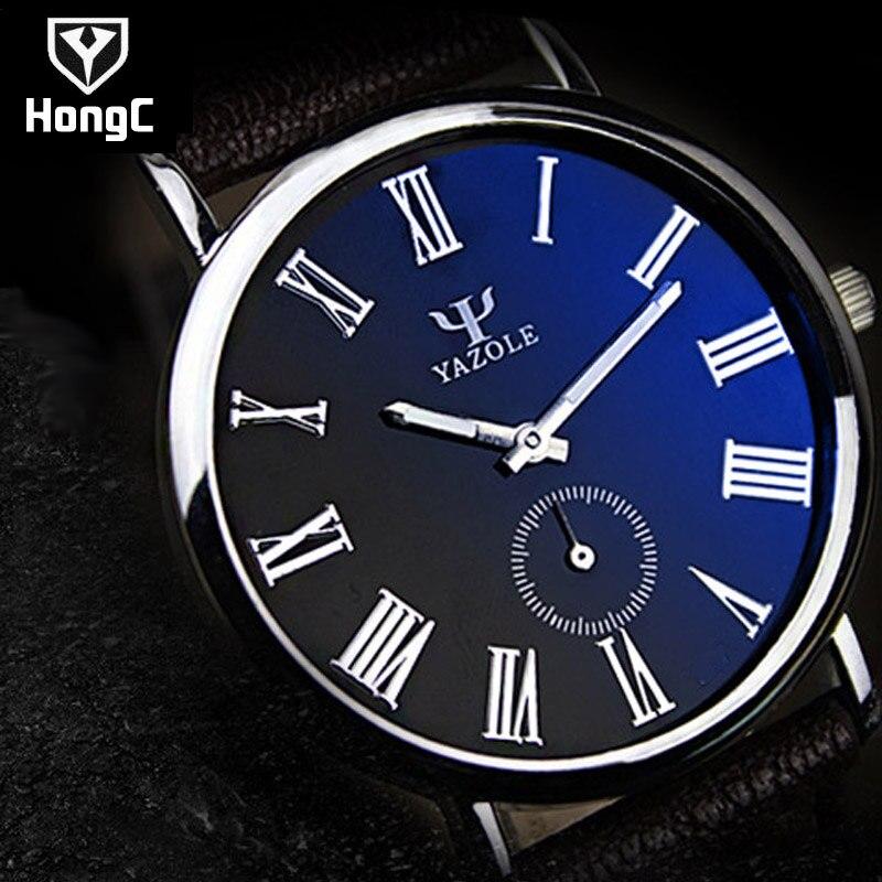 HongC Mens Watches Top Brand Luxury Leather Strap Watch Men QuartzWatch clock men Fashion Military Casual