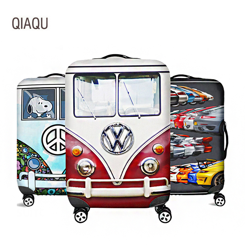 QIAQU Cartoon Car Travel Suitcase Protective Cover For 18''-32'' Luggage Case Travel Accessories Elastic Luggage Dust Cover