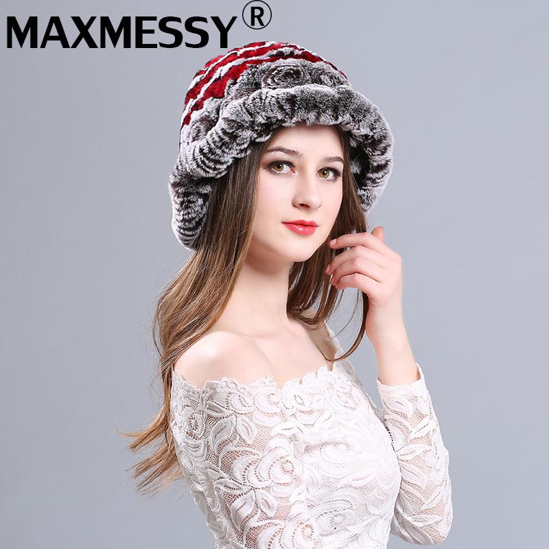 MAXMESSY Hot Sale Women Beanie Winter Handmade Stripes Real Rex Rabbit Fur Hat Women Fur Hats Warm Soft Female Caps Winter