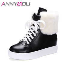 ANNYMOLI Snow Boots Winter Women Ankle Boots Plush Natural Real Fur Platform Wedges Boots Lacing Hidden Heel Shoes Black White