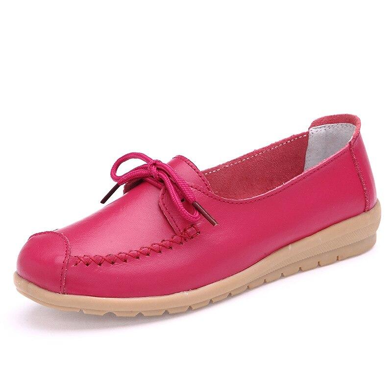 Mujeres 2018 Mujer Cuero pink Planos Mocasín Oxford rose Casual Genuino orange Black Bowknot Enfermera white blue Moda Zapatillas Zapatos qpr1tqw