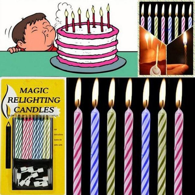 10pcs/Pack  Magic Relighting Candles Trick Party Candles Joke Candles Holder Birthday Cake Candle Cake Decoration Festival Tool