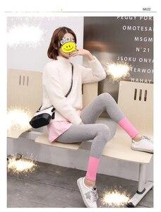 Image 2 - Женские эластичные леггинсы для фитнеса, облегающие капри из хлопка, уличная одежда, весна лето 2019