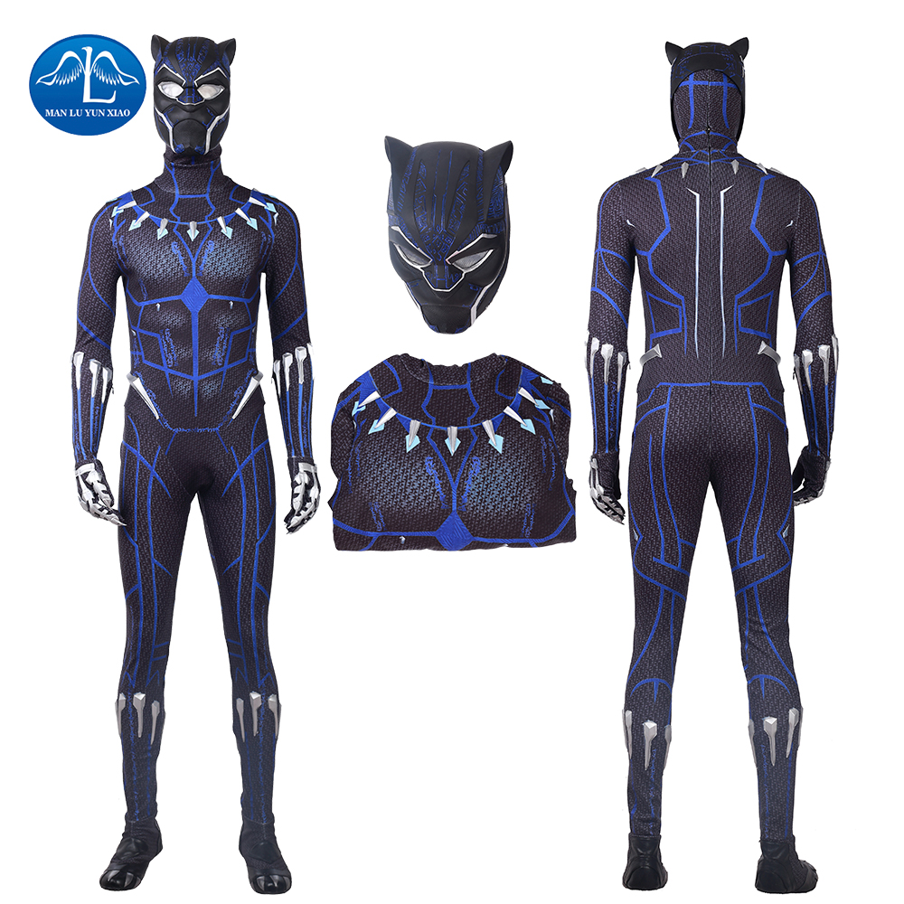 2018 New Arrival Black Panther Cosplay Costume Blue Printing Halloween Costumes Black Panther Costume Custom Made Men Jumpsuit