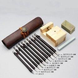 Conjunto de ferramentas de gravura em aço tungstênio escultura faca conjunto escultura em madeira jade escultura selo ferramentas manuais com saco de couro