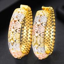 SisCathy 2019 New Hot Cubic Zirconia Geometric Big Hoop Earrings For Women Wedding DUBAI Bridal Round Circle Statement