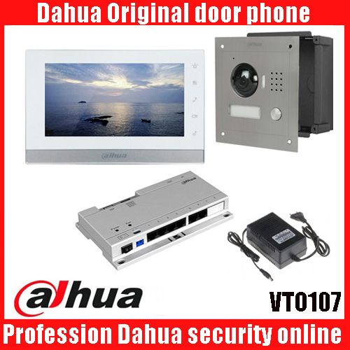 7inch Touch Screen Dahua VTH1550CH Monitor with TO2000A outdoor IP Metal Villa Outdoor POE IP Video Intercom system with power