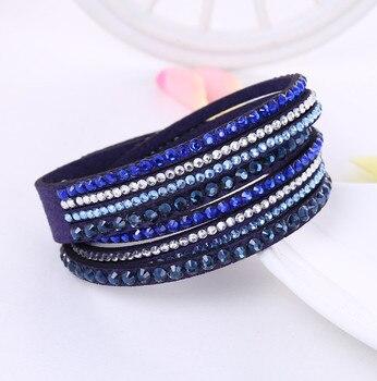 Crystal Multi-Layer Wrap Bracelets Bracelets Jewelry New Arrivals Women Jewelry Metal Color: Ink blue